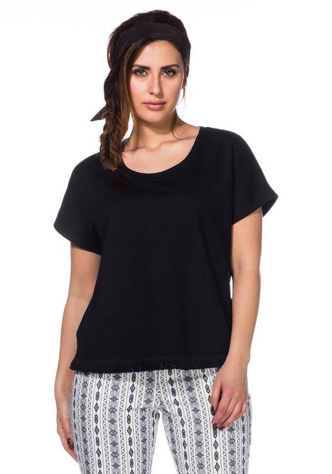 sheego Trend Sweatshirt in schwarz