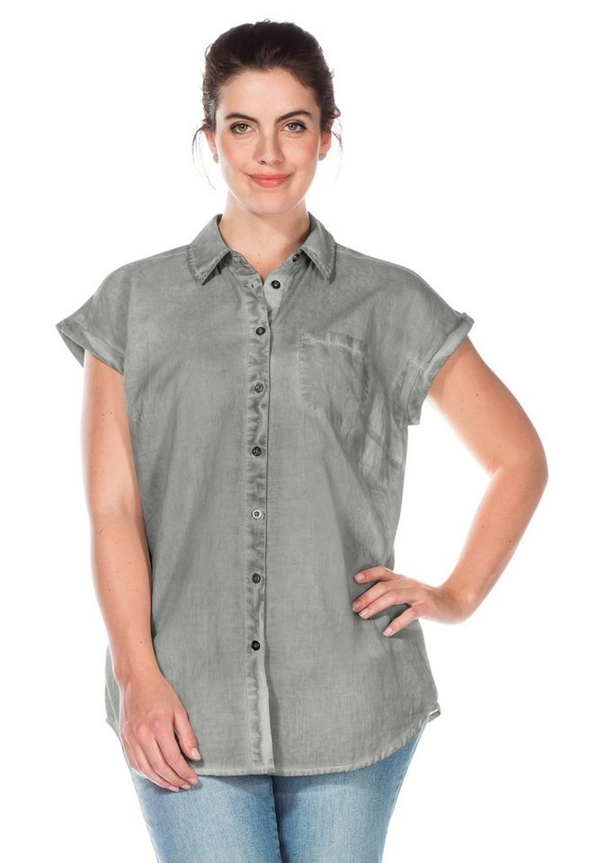 sheego Casual Bluse in Oil-washed-Optik in grau