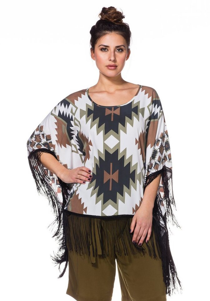 sheego Trend Poncho in offwhite bedruckt