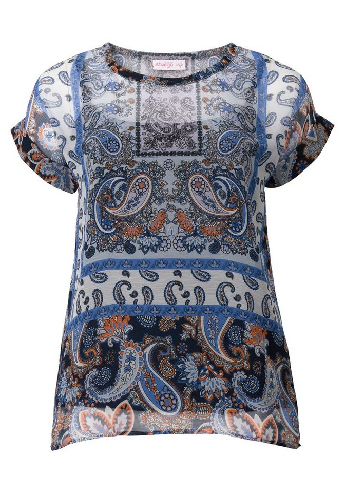 sheego Style Tunika in ozeanblau-offwhite