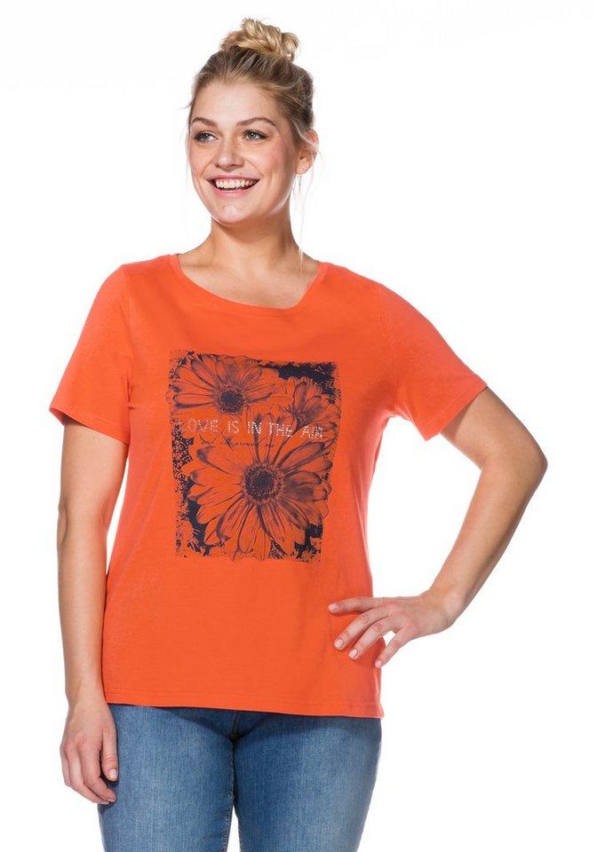 sheego Casual T-Shirt mit Druck in mandarine