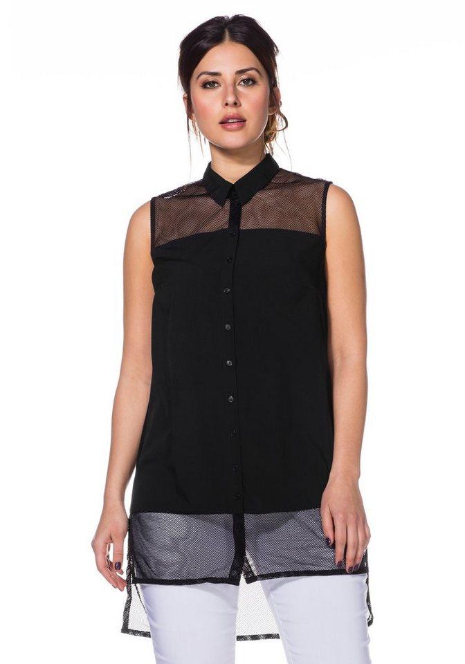 sheego Trend Longbluse in schwarz