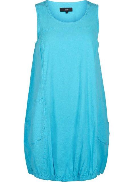 Zizzi Ballonkleid Große Größen Damen Baumwoll Kleid mit Rundhals und Taschen | Bekleidung > Kleider > Ballonkleider | Zizzi