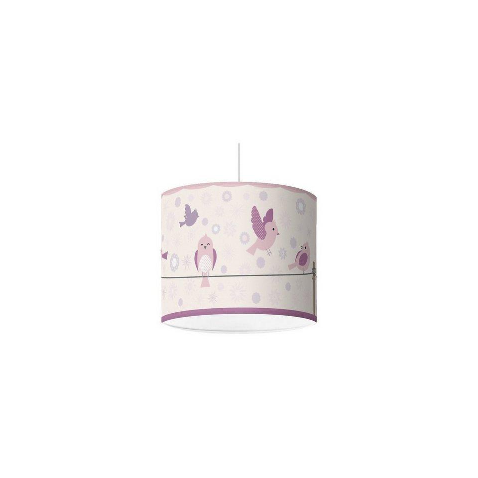 Lampenschirm Vögel & Blümchen, lila, Ø16cm in lila