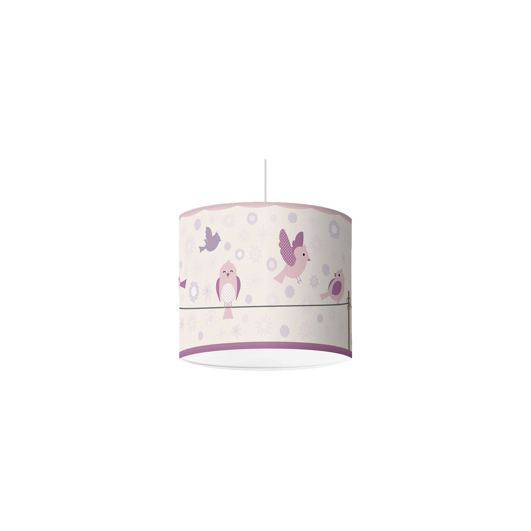 Lampenschirm Vögel & Blümchen, lila, Ø16cm