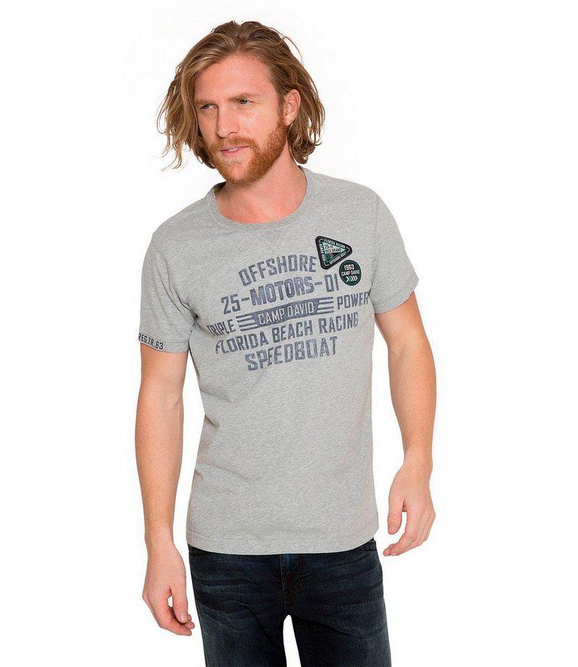 CAMP DAVID T-Shirt in grau-meliert