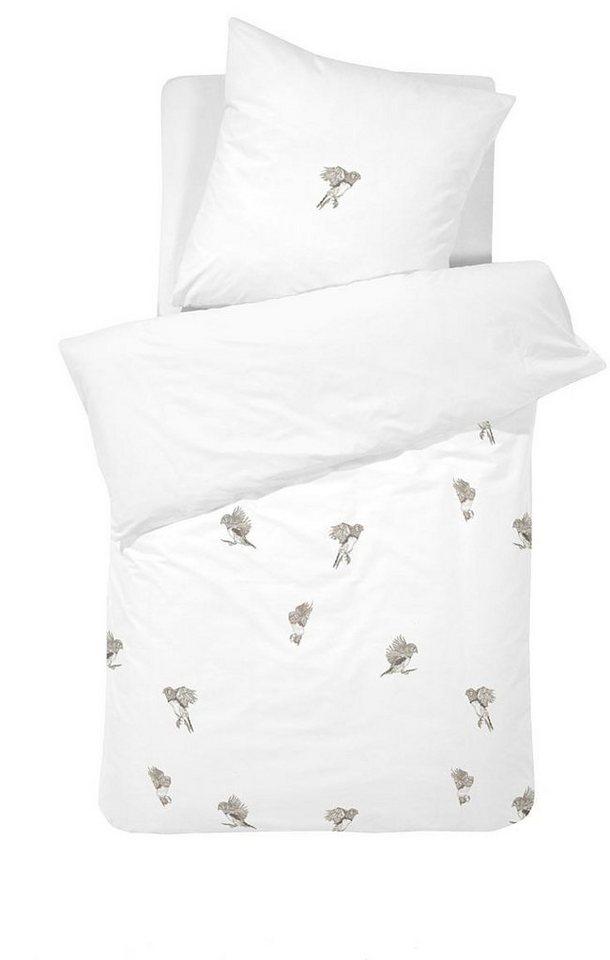 Bettwäsche, Damai, »Finker«, mit kleinen Vögeln in weiß
