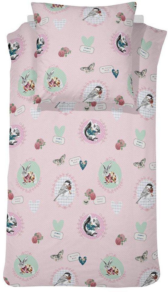 Kinderbettwäsche, Cinderella, »Bunny«, mit Tiermotiven in rosa