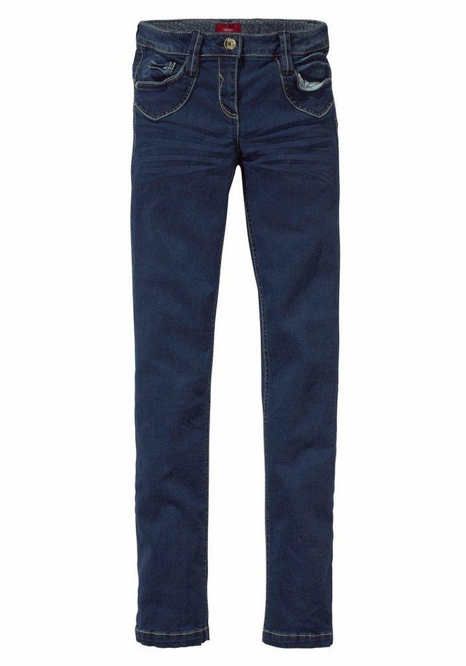 s.Oliver RED LABEL Junior Jeans in sehr schmaler Form, für Mädchen in blue denim