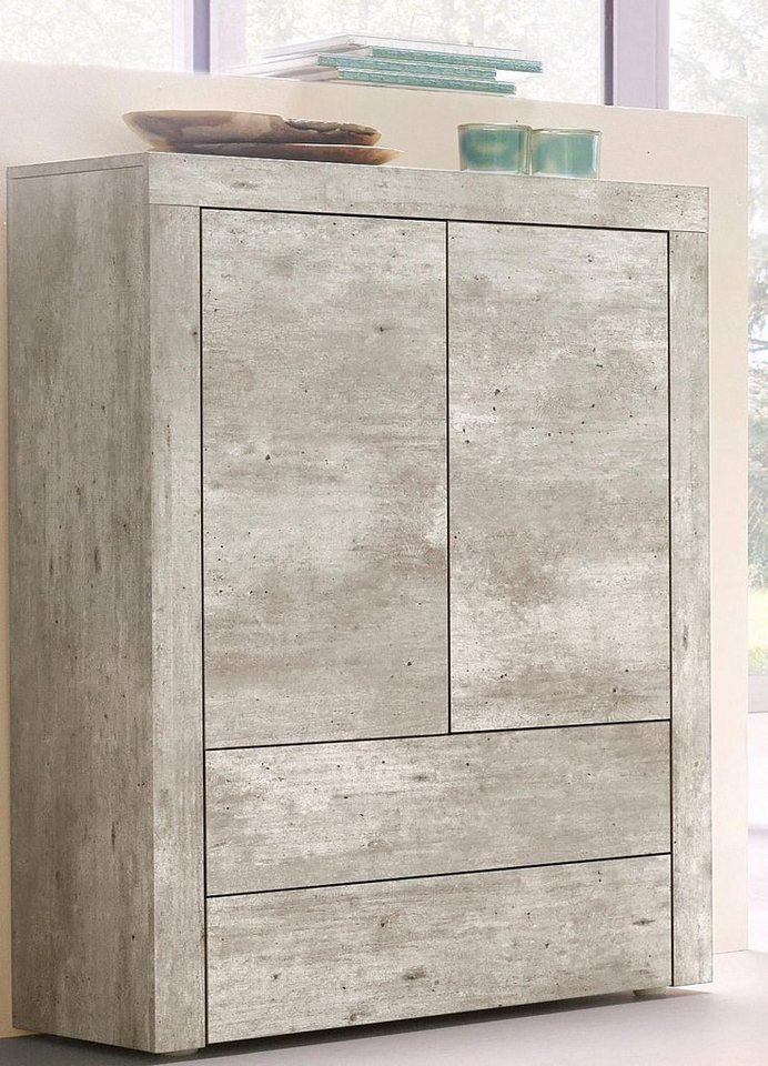 Highboard, Breite 76 cm in Beton-Optik