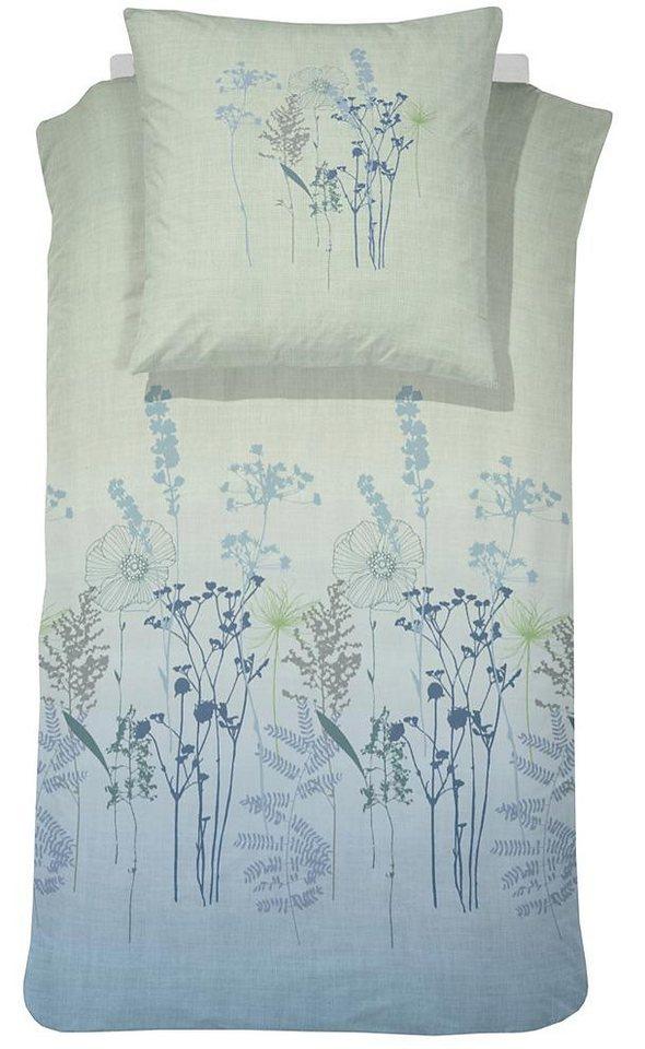 Bettwäsche, Cinderella, »Liv«, mit Wiesenblumen in blau-grün