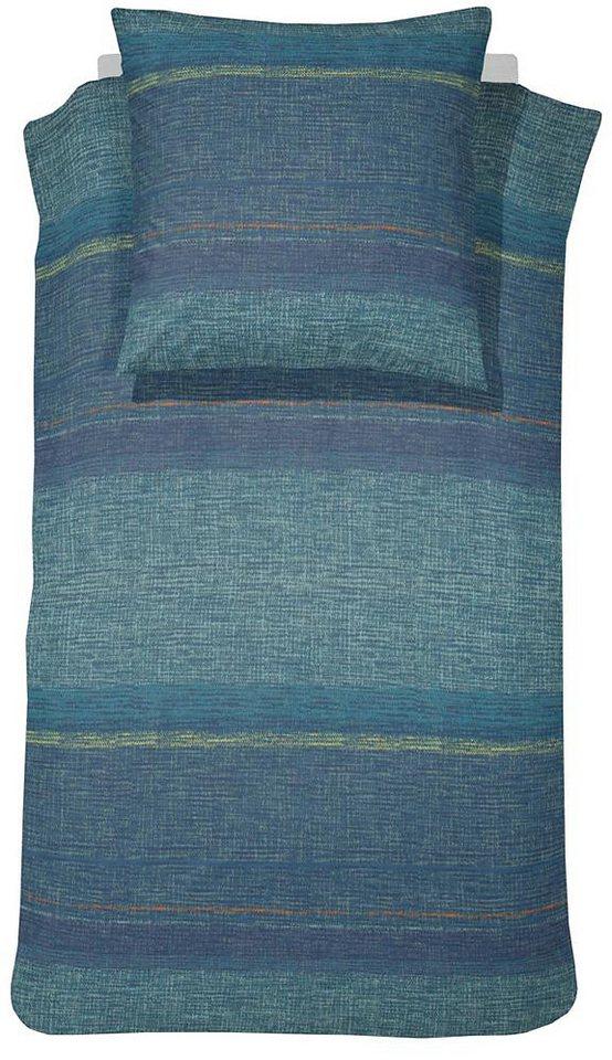 Bettwäsche, Damai, »Norval«, mit grober Struktur in blau