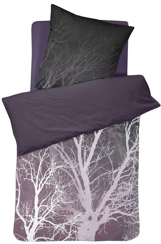 Bettwäsche, Damai, »Winter«, mit Baum-Motiv in anthrazit
