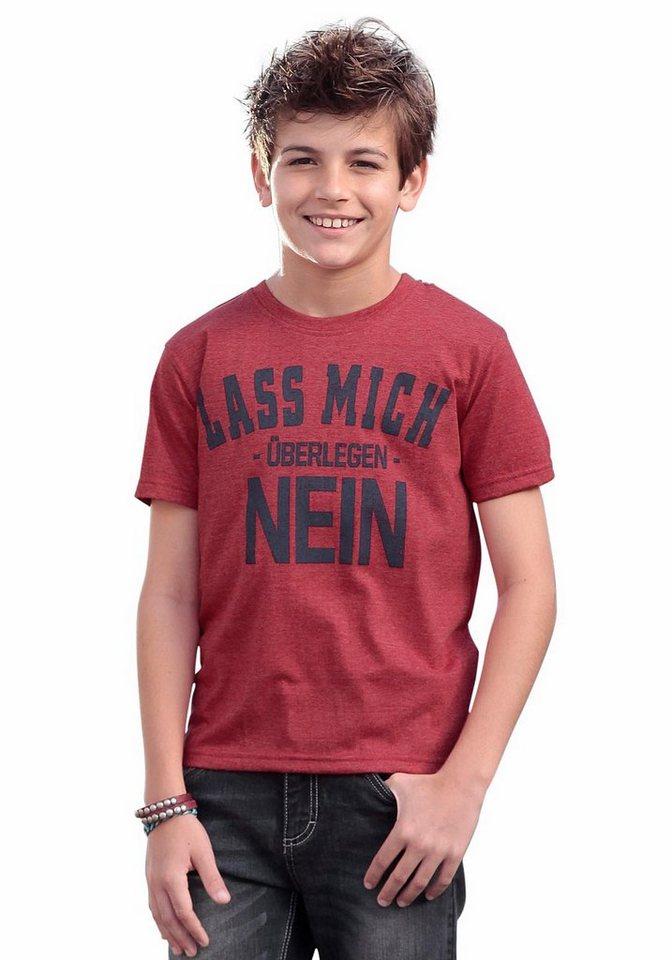 "KIDSWORLD T-Shirt ""LASS MICH -ÜBERLEGEN- NEIN"" in rot-meliert"