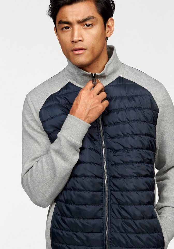 Tom Tailor Sweatjacke im Materialmix in grau-meliert-navy