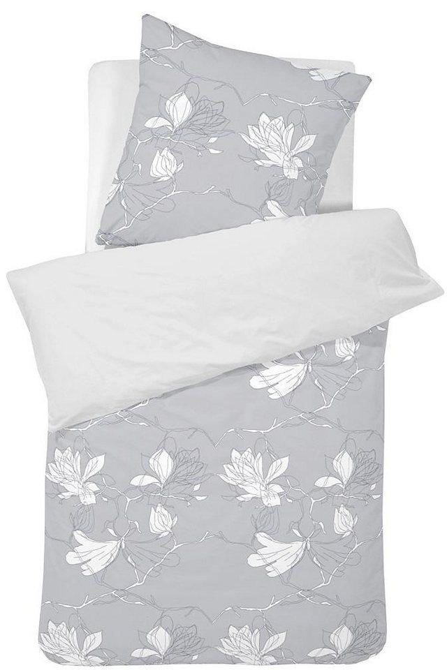 Bettwäsche, Damai, »Blomstra«, mit abstrakten Blüten in grau