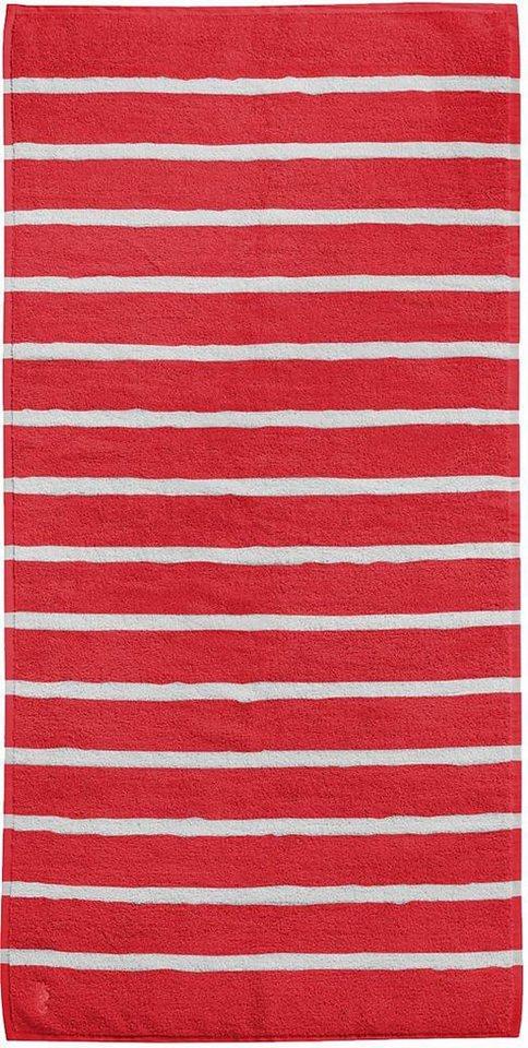 Badetuch, Seahorse, »Menton«, mit dezenten Streifen in rot