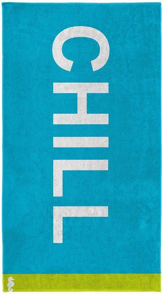 Strandtuch, Seahorse, »Chill«, mit großem Schriftzug in türkis