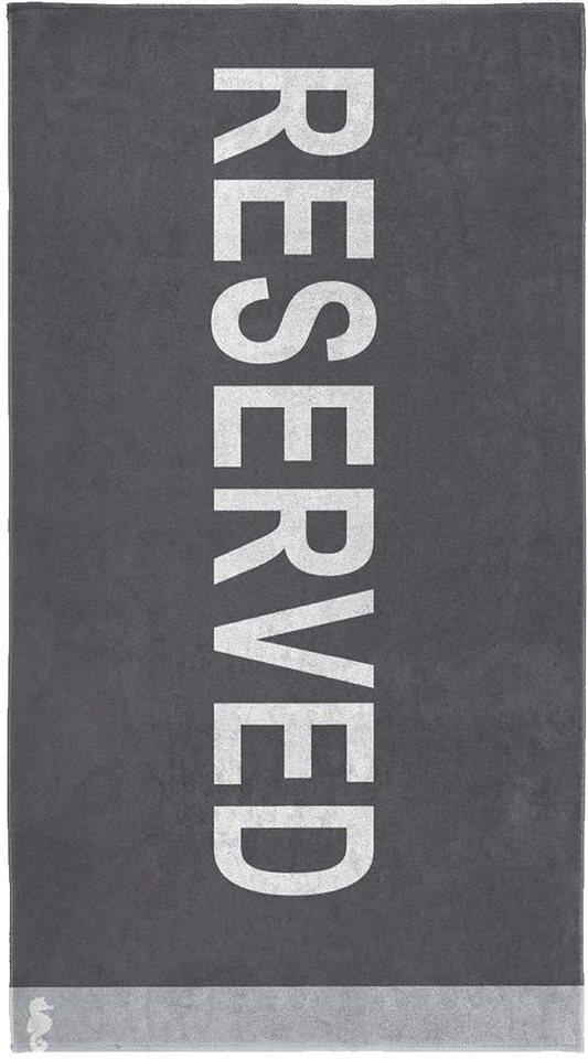 Strandtuch, Seahorse, »Reserved«, mit Schriftzug in anthrazit
