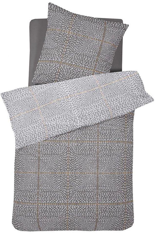 Wendebettwäsche, Damai, »Yuuto«, mit gestricheltem Muster in grau