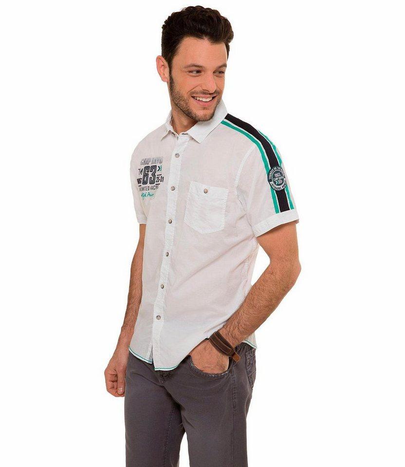 CAMP DAVID Kurzarmhemd in weiß