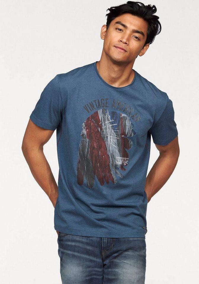 Tom Tailor T-Shirt mit Print in blau-meliert