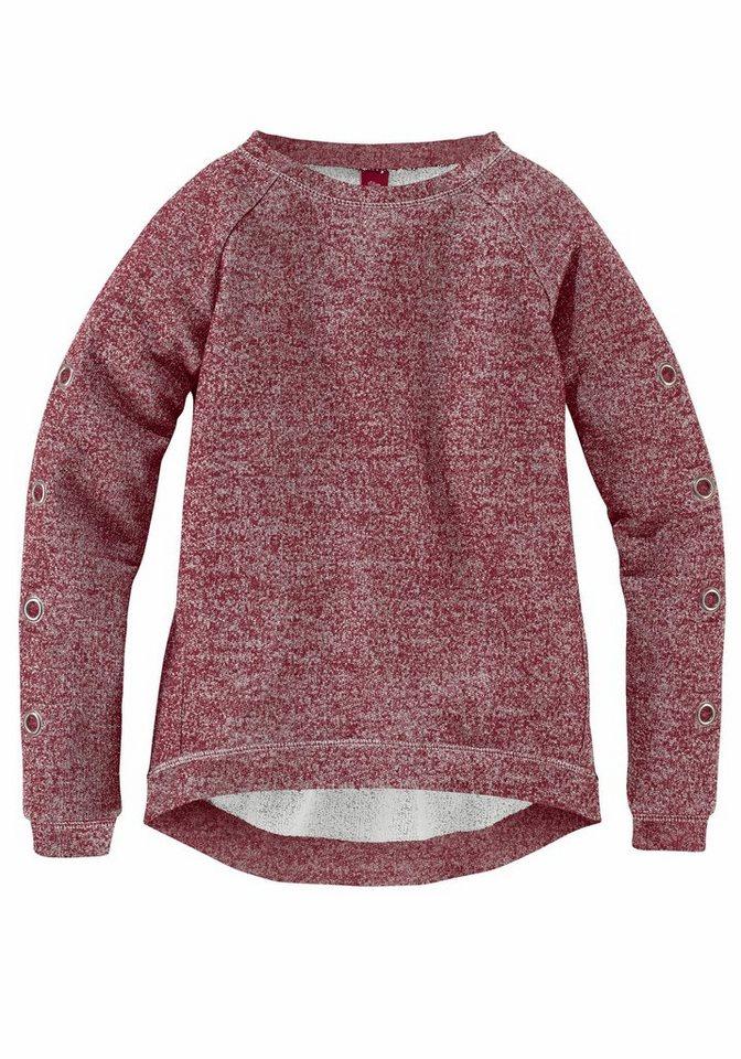 s.Oliver RED LABEL Junior Sweatshirt farblich unterlegte Ösen am Ärmel in dunkelrot-meliert