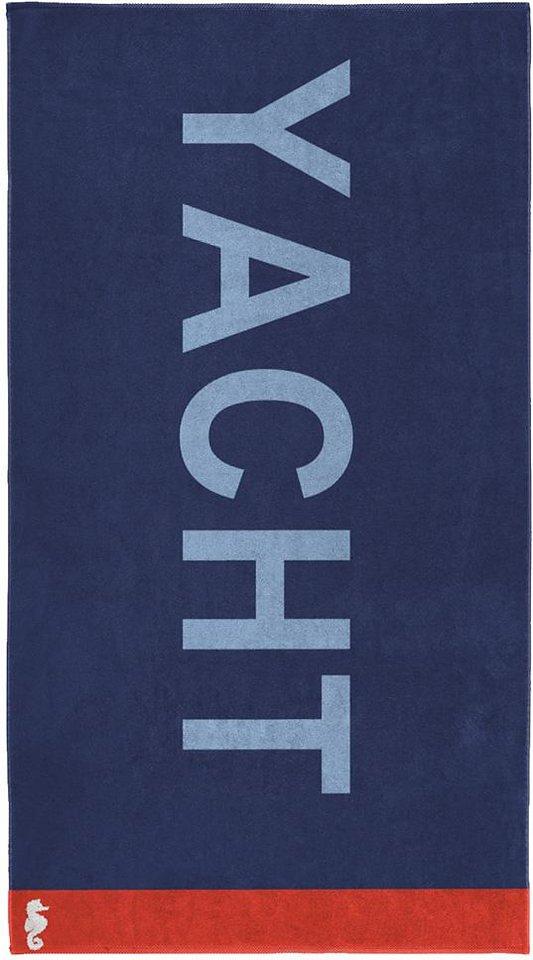 Strandtuch, Seahorse, »Yacht«, mit großem Schriftzug in marine