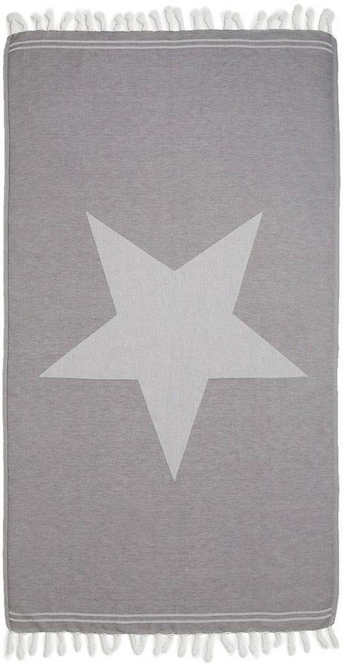 Hamamtuch, Seahorse, »Asteris«, mit großem Stern in grau