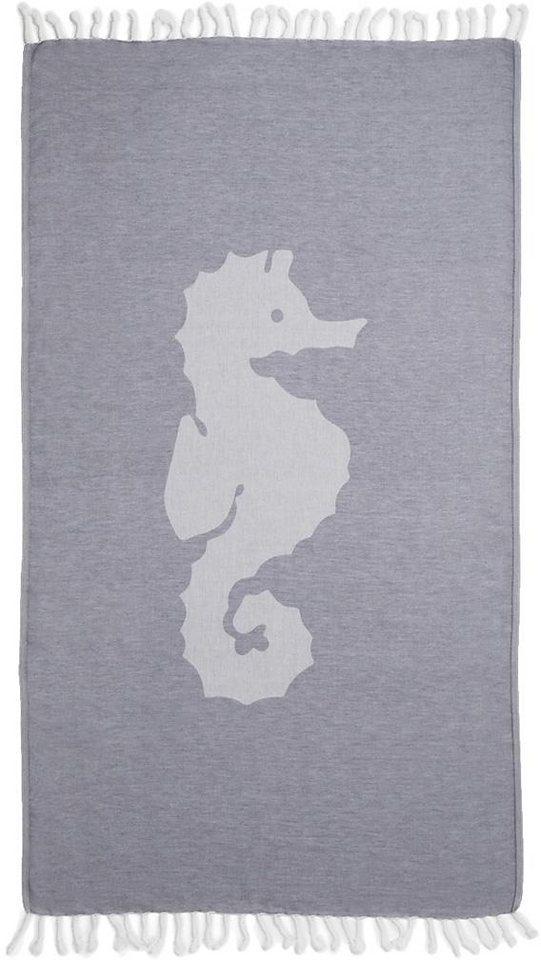 Hamamtuch, Seahorse, »Seepferdchen«, mit großem Motiv in blau