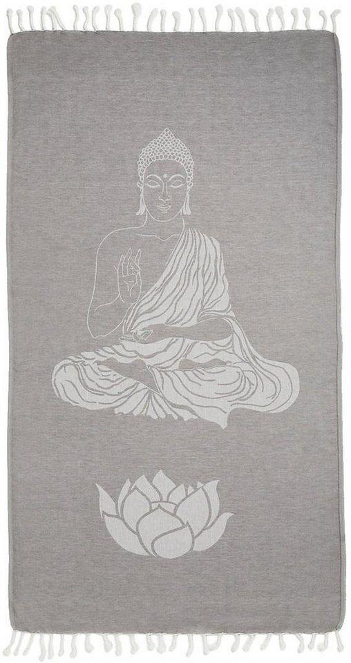 Hamamtuch, Seahorse, »Buddha«, mit Wellness Motiven in grau