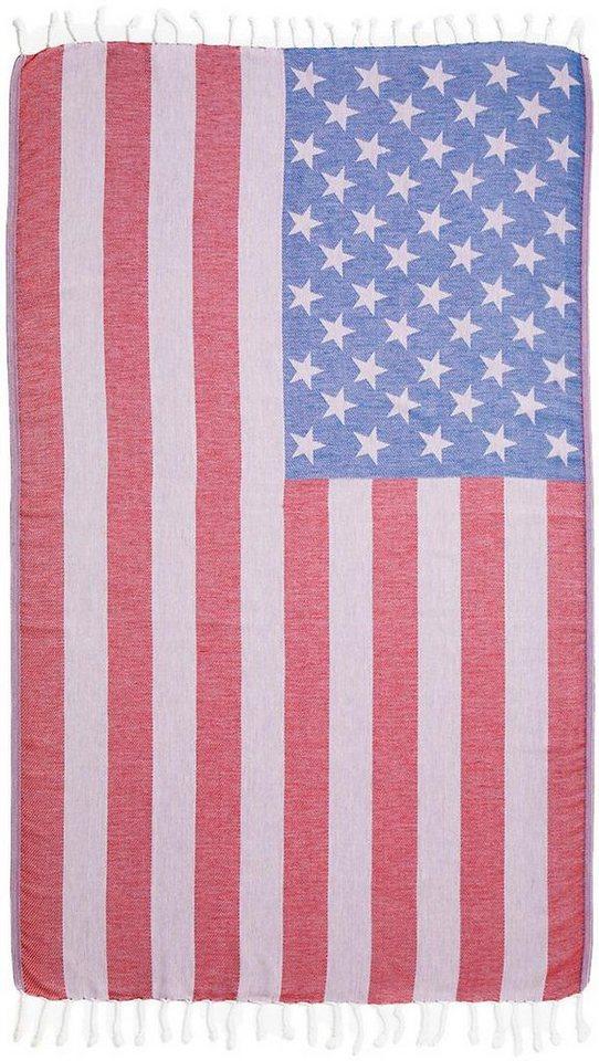 Hamamtuch, Seahorse, »USA«, mit Flaggenmotiv in rot-weiß