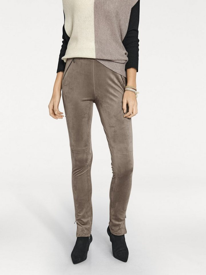 Lederimitatleggings in taupe