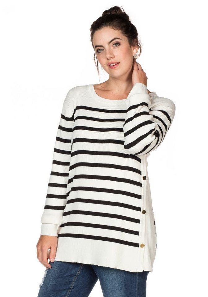 sheego Trend Longpullover in schwarz-weiß