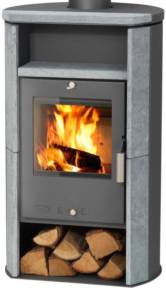 Kaminofen »Santa Fé«, Naturstein, 6 kW, runde Rückseite, Fireplace in grau