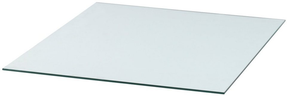 Glasbodenplatte »Rechteck«, 85 x 100 cm, transparent, zum Funkenschutz in weiß