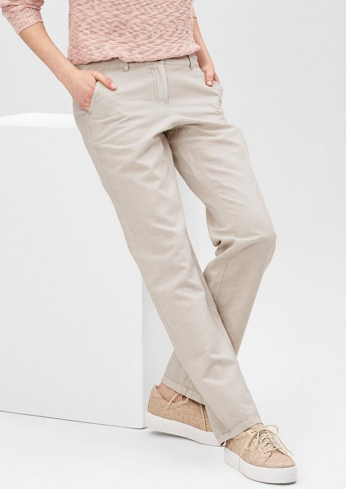 s.Oliver RED LABEL Smart Straight: Hose mit Leinen in pearl