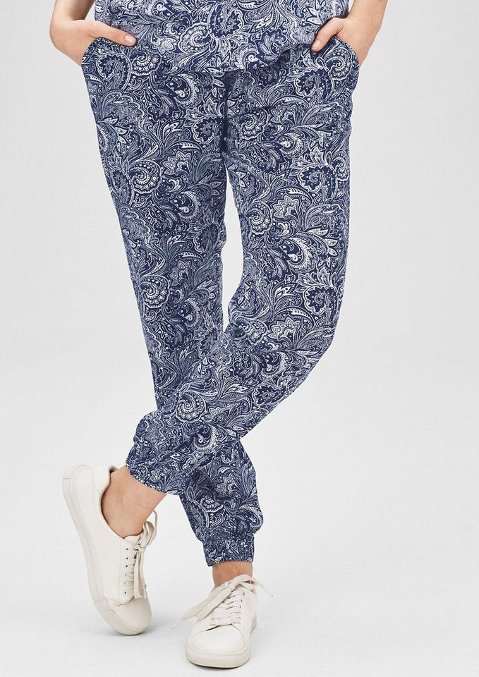 s.Oliver Denim Jogging Pants mit Allover-Print in night blue AOP paisl