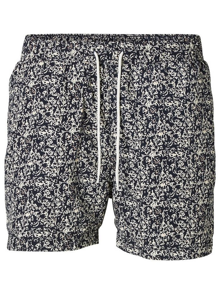 Selected Regular-Fit- Badeshorts in Total Eclipse