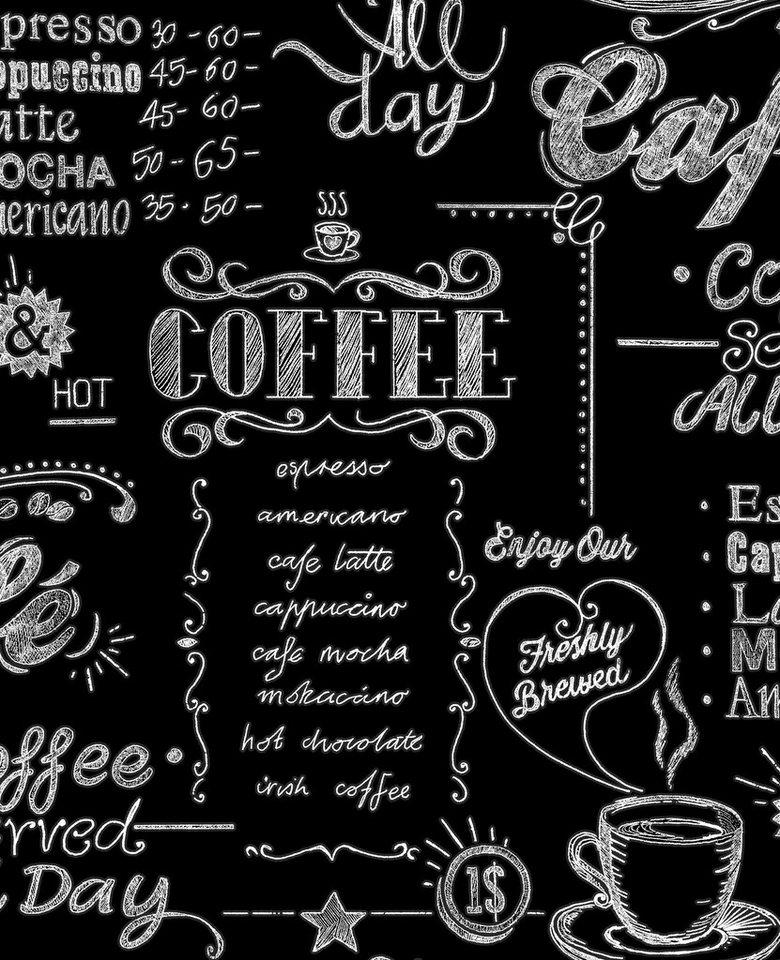 Vliestapete »Coffee Shop« in schwarz