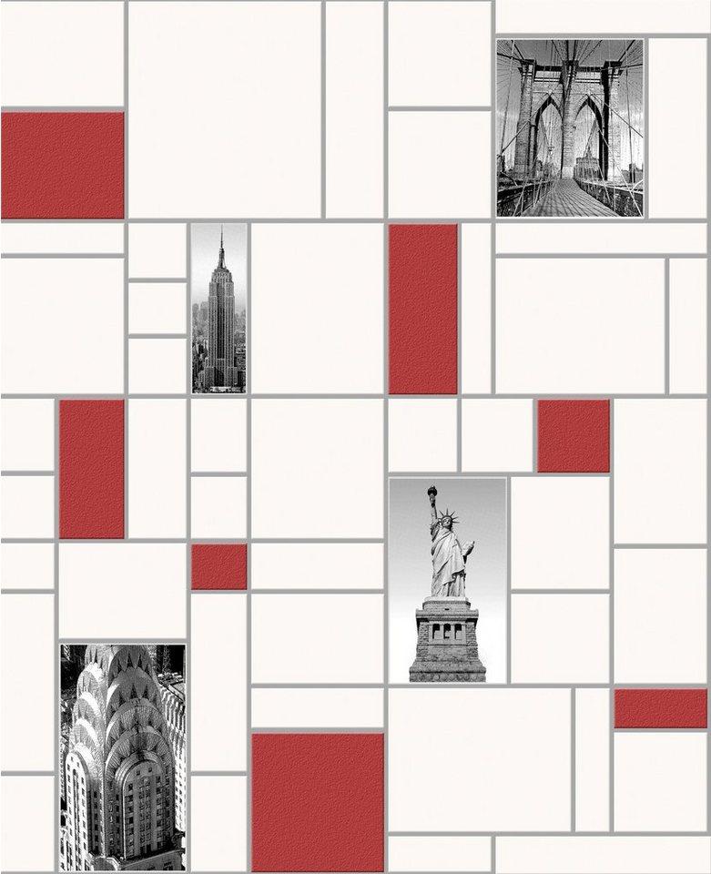 Vliestapete »NYC Fliese« in weiß
