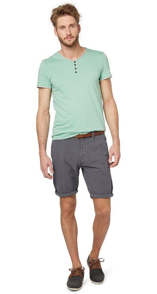 TOM TAILOR Shorts »gestreifte Chino-Shorts mit Gürtel« in ink black