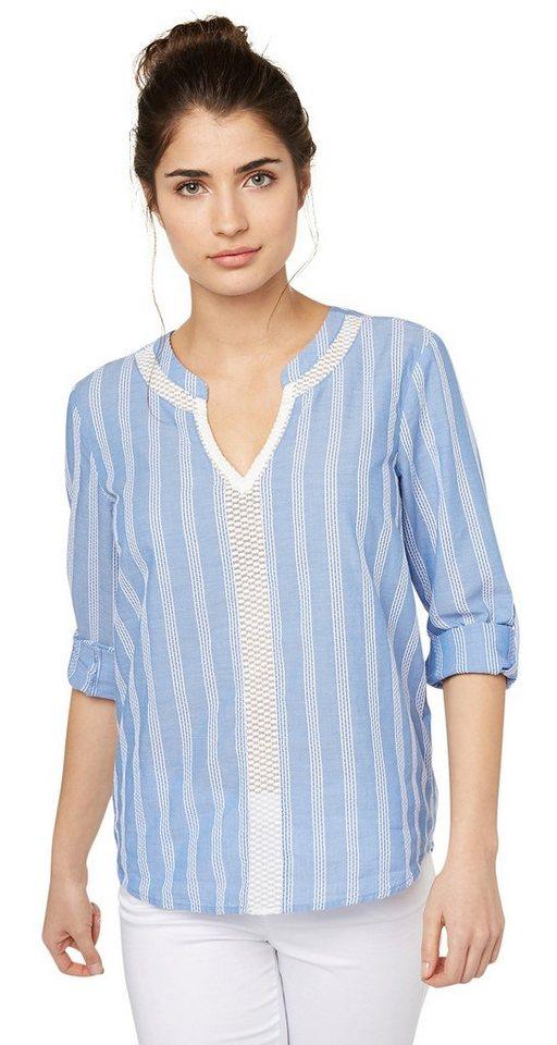 TOM TAILOR Bluse »striped feminine blouse« in sea blue