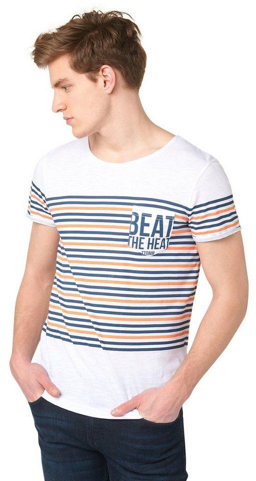 TOM TAILOR DENIM T-Shirt »T-Shirt mit Streifen-Print« in dark duck blue