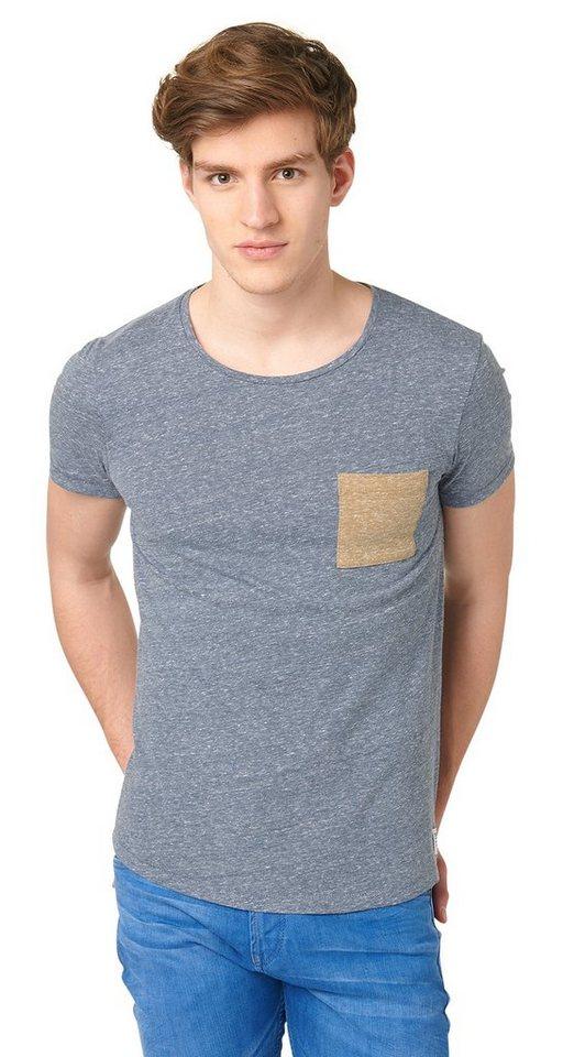 TOM TAILOR DENIM T-Shirt »T-Shirt mit Kontrast-Tasche« in dark duck blue