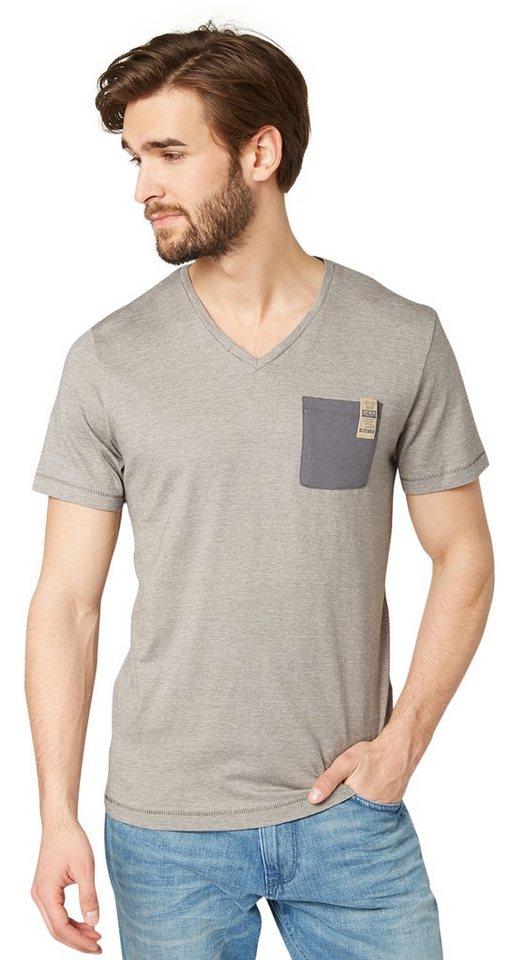 TOM TAILOR T-Shirt »T-Shirt mit Brusttasche« in chinchilla