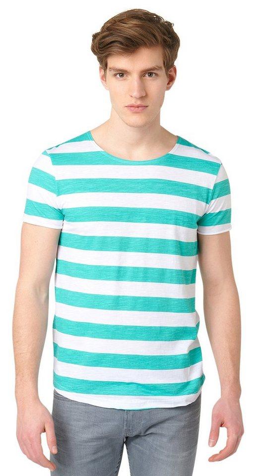 TOM TAILOR DENIM T-Shirt »lässiges gestreiftes T-Shirt« in waterfall green