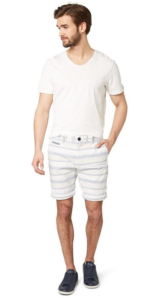 TOM TAILOR Shorts »gestreifte Chino-Shorts« in almond milk beige