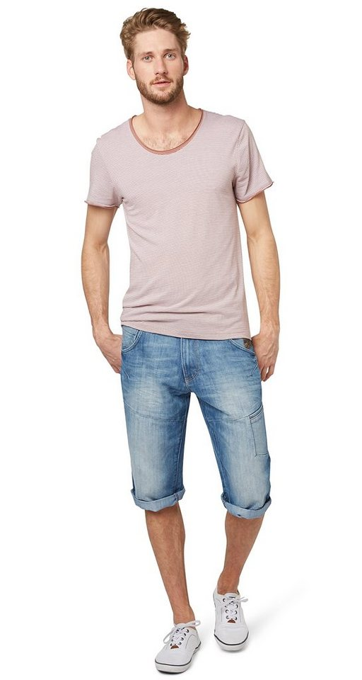 TOM TAILOR Shorts »Used-Jeans in Bermuda-Länge« in light stone wash den