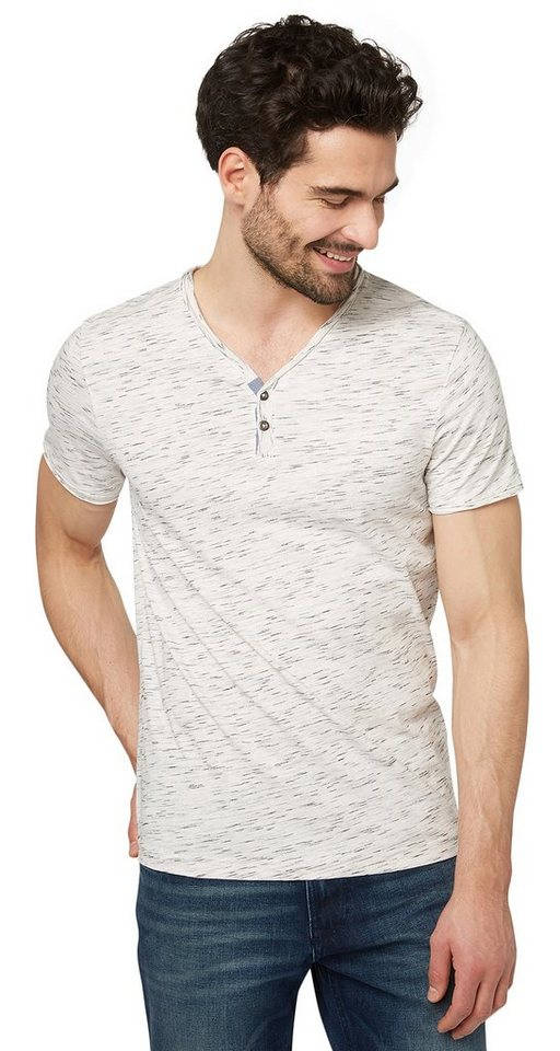 TOM TAILOR T-Shirt »deplaced print tee« in off white